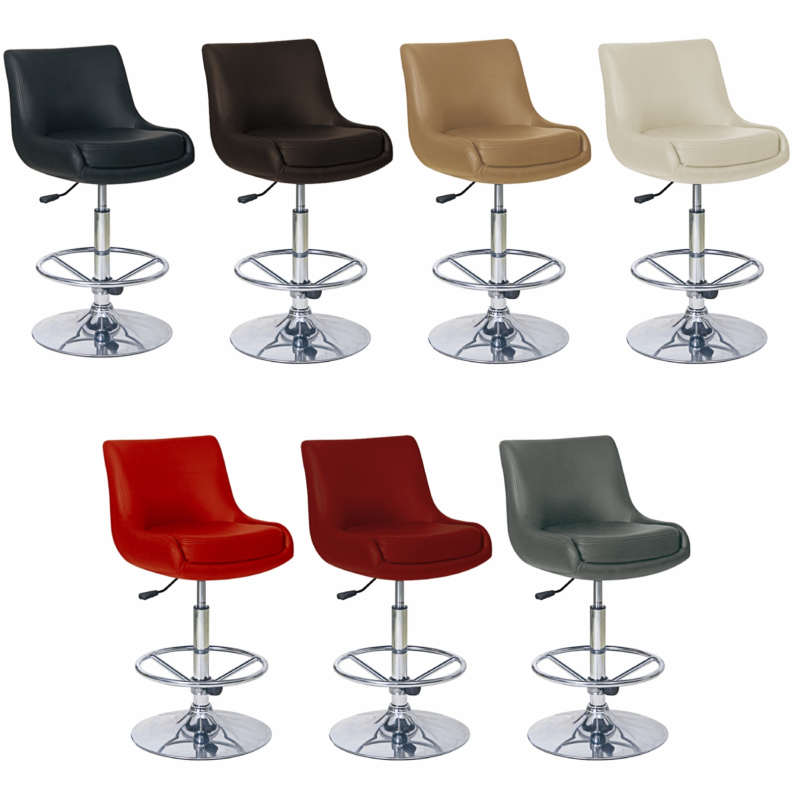 Modern Adjustable Counter Swivel Pub Style Bar Stools